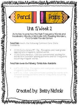 Reading Wonders Unit 5 Week 2 Pencil Pairs ***WITH 72 BONUS PAGES***