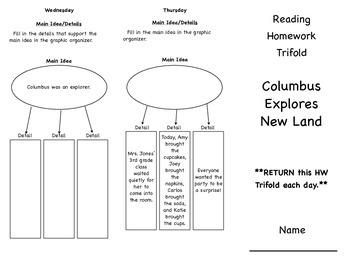 Unit 5, Week 3 Columbus Explores New Lands Tri-fold HW