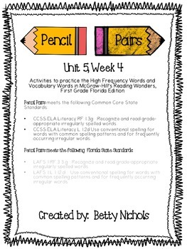 Reading Wonders Unit 5 Week 4 Pencil Pairs ***with 72 BONU