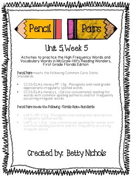 Reading Wonders Unit 5 Week 5 Pencil Pairs ***with 72 BONUS PAGES!***