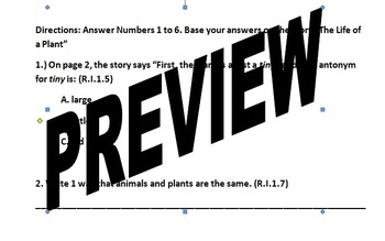 Unit 5 Week 5 The Life of a Plant FCAT Weekly test COMMON CORE aligned