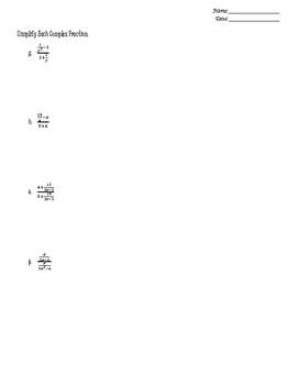 Unit 5 Worksheets (ALG 2) - Rational Functions