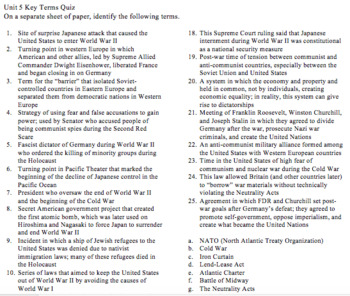 Unit 5 (World War II and Beginning of the Cold War) Key Terms with Quiz and Key