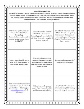 Unit 5 of HMH Journeys 5th grade Homework grid