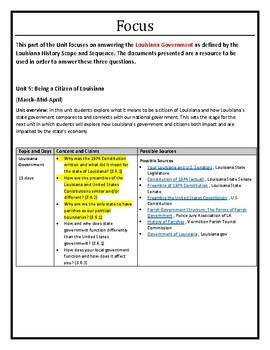 Louisiana History - Unit 5A - Louisiana Government - Part A  - 8th Grade