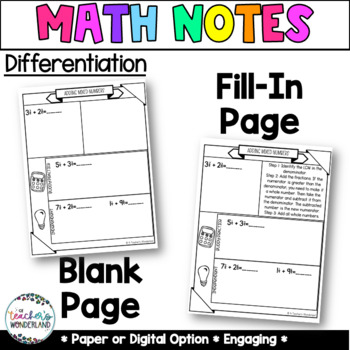 Unit 6- Adding & Subtracting Guided Math Notes for Math Notebook