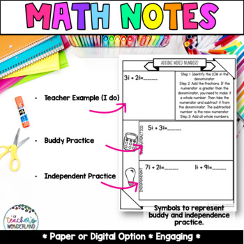 Grade 5- Unit 6- Adding & Subtracting Guided Math Notes for Math