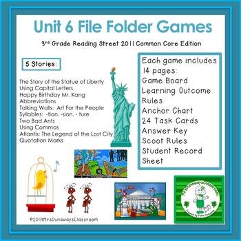 Unit 6 File Folder Games: 3rd Grade Reading Street (2011)