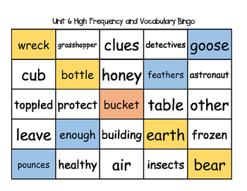 Treasures Unit 6 High Frequency & Vocabulary BINGO!