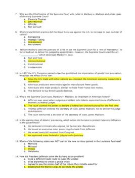 Unit 6: Jeffersonian Era Test and Answer Key