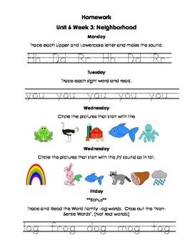 Unit 6 Kindergarten Treasures Reading Series Homework