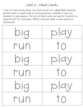 Unit 6: Sight Word Detectives - big, play, run, to