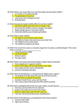 Unit 6 - Social Stratification Test with Answer Key