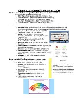 Unit 6 Study Guide: Holt McDougal Literature Grade 8