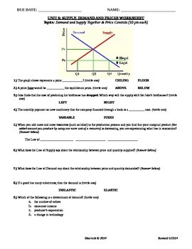Unit 6: Prices and Controls Worksheet