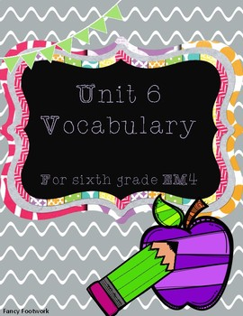 Unit 6 Vocabulary Cards for Everyday Math 4 Sixth Grade