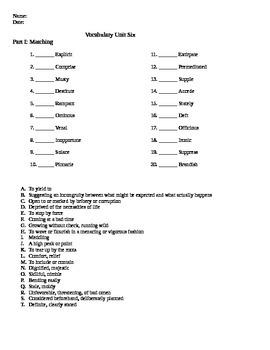 Unit 6 Vocabulary Test based on Orange Sadlier Workbook Level E
