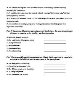 Unit 6 Vocabulary Test based on Orange Sadlier Workbook Level G