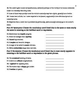 Unit 6 Vocabulary Test based on Sadlier Workbook Level D