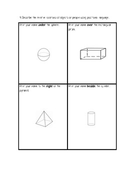 Unit 6B Math Show What You Know Assessment/Test 3D Geometry