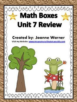 Unit 7 Fractions Math Boxes Review 4th Grade