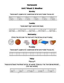 Unit 7 Kindergarten Treasures Reading Series Homework