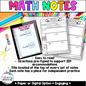 Unit 7- Multiplying Fractions Guided Math Notes for Math Notebook