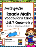 Unit 7 Ready Math Vocabulary Cards for Kindergarten