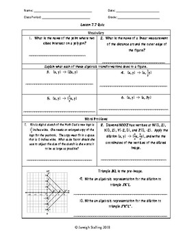 Unit 7 - Transformational Geometry - Worksheets - 8th Grade Math TEKS