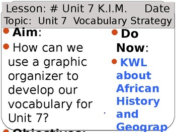 Ancient Africa, Asia, Americas - Unit 7 Vocabulary Lesson