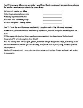 Unit 7 Vocabulary Test based on Sadlier Workbook Level D