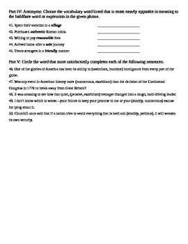 Unit 7 Vocabulary Test based on Sadlier Workbook Level D