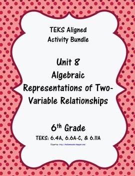 Unit 8 - Algebraic Rep. of Two-Variable Relat - Activities - 6th Grade Math TEKS