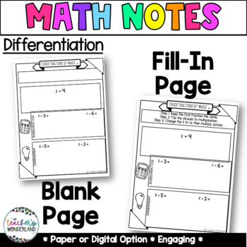 Unit 8- Dividing Fractions Guided Math Notes for Math Notebook