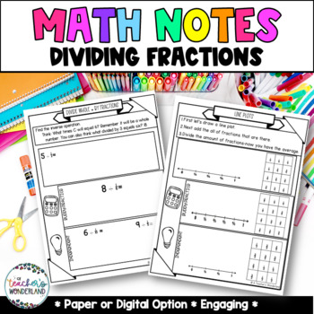 Grade 5- Unit 8- Dividing Fractions Guided Math Notes for Math Notebook