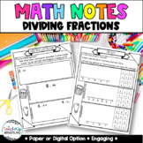 Grade 5- Unit 8- Dividing Fractions Guided Math Notes for