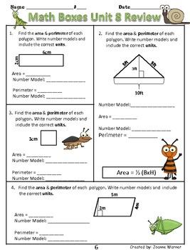 Unit 8 Everyday Math ~ Area & Perimeter ~ 4th Grade