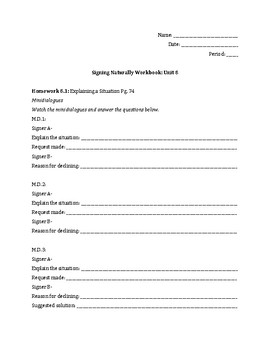 Signing Naturally Unit 8 Workbook Packet