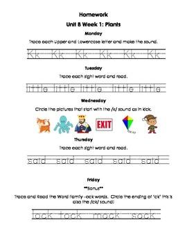 Unit 8 Kindergarten Treasures Reading Series Homework