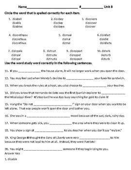 Unit 8 Spelling Word Study Test dis- Prefix