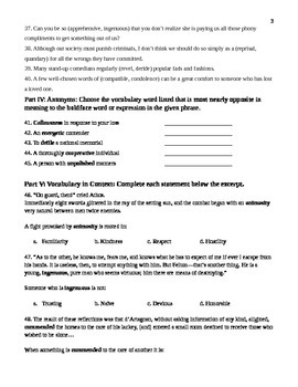 Unit 8 Vocabulary Test based on Orange Sadlier Workbook Level E