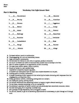Unit 8 Vocabulary Test based on Orange Sadlier Workbook Level G