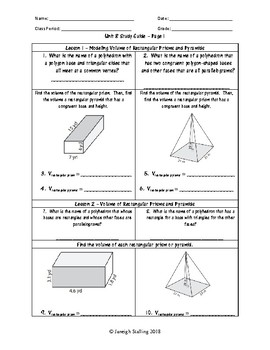 Unit 8 - Volume and Surface Area - Worksheets - 7th Grade ...
