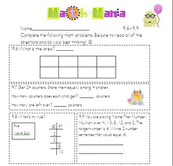 Unit 9 Everyday Math 2nd Grade starred skills common core standards