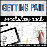 Unit 9 Getting Paid - Vocabulary Pack
