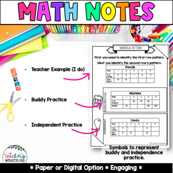 Unit 9- Graphing Guided Math Notes for Math Notebook