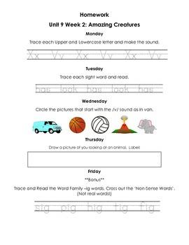 Unit 9 Kindergarten Treasures Reading Series Homework