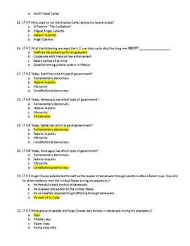 Unit 9 - Latin America Test with Answer Key
