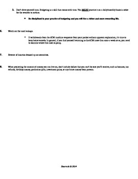 Unit 9: Personal Finance Budget Project Packet