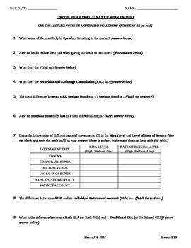 Unit 9: Personal Finance Worksheet